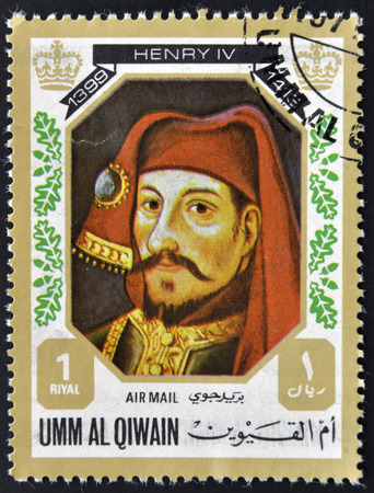 UMM AL QIWAIN - CIRCA 1980: A stamp printed in Umm Al Qiwain shows King Henry IV, circa 1980
