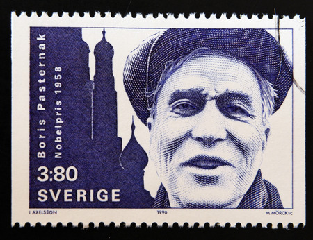 nobel: SWEDEN - CIRCA 1990: stamp printed in Sweden shows Boris Pasternak, Nobel Prize for Literature in 1958, circa 1990