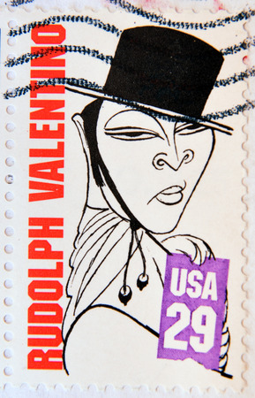 silent film: UNITED STATES OF AMERICA - CIRCA 1994:  a stamp printed in USA showing an image of Rudolph Valentino, circa 1994.