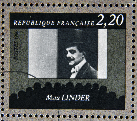 philatelist: FRANCE - CIRCA 1986: stamp dedicated to centenary of the French cinema shows Max Linder, circa 1986 Editorial