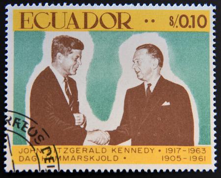 john fitzgerald kennedy: ECUADOR - CIRCA 1967: a stamp printed in Ecuador shows John Fitzgerald Kennedy and DAG Hammarskjold, circa 1967