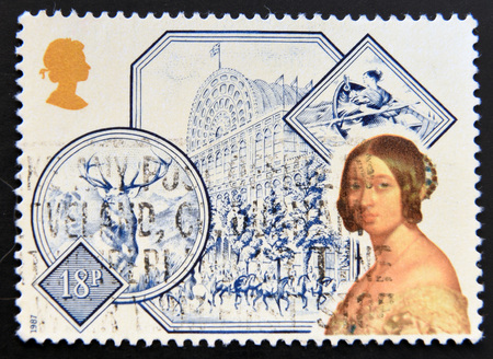 accession: GREAT BRITAIN - CIRCA 1987: a stamp printed in United Kingdom shows Portrait of Queen Victoria and Great Exhibition at Crystal Palace (1851), circa 1987