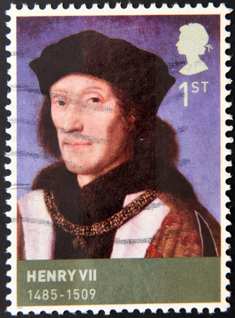 henry: UNITED KINGDOM - CIRCA 2009: A stamp printed in Great Britain shows portrait of king Henry VII of England, circa 2009