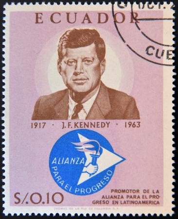 john fitzgerald kennedy: ECUADOR - CIRCA 1967: a stamp printed in Ecuador shows John Fitzgerald Kennedy, circa 1967