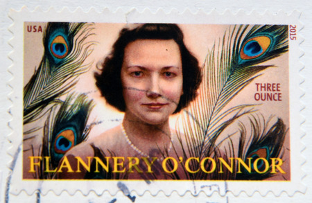 essayist: UNITED STATES OF AMERICA - CIRCA 2015: A stamp printed in USA shows Flannery O´Connor, circa 2015 Editorial