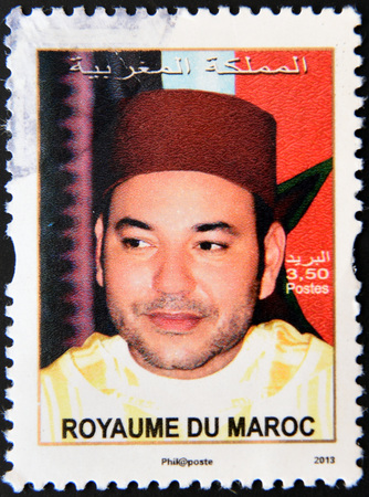 mohammed: MOROCCO - CIRCA 2013: a stamp printed in Morocco shows Mohammed VI, King of Morocco, circa 2013
