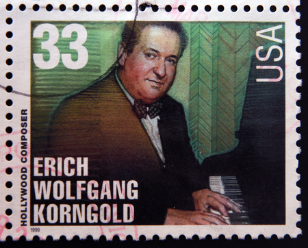 composer: UNITED STATES OF AMERICA - CIRCA 1999: A stamp printed in USA dedicated to Hollywood composer, shows Erich Wolfgang Korngold, circa 1999