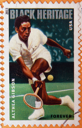 gibson: UNITED STATES OF AMERICA - CIRCA 2013: A stamp printed in USA shows Althea Gibson, circa 2013 Editorial