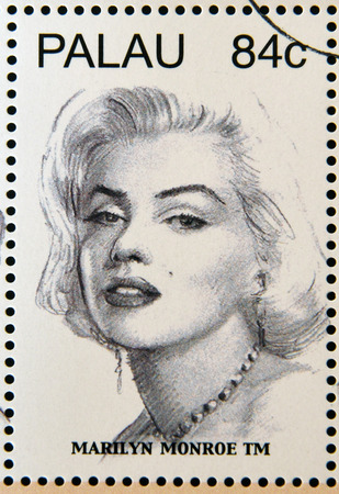 vintage postcard: PALAU - CIRCA 2006: Stamp printed in Palau shows Marilyn Monroe, circa 2006