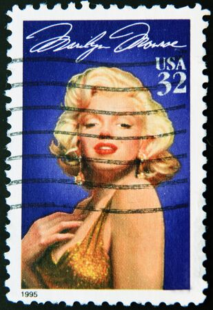 monroe: UNITED STATES OF AMERICA - CIRCA 1995: A stamp printed in USA shows Marilyn Monroe (1926-1962), circa 1995