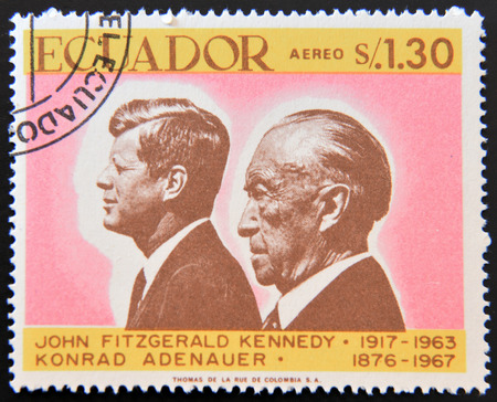 Kennedy: ECUADOR - CIRCA 1967: a stamp printed in Ecuador shows John Fitzgerald Kennedy and Konrad Adenauer, circa 1967 Editorial