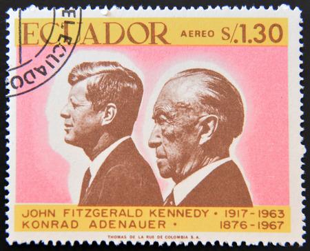 ECUADOR - CIRCA 1967: a stamp printed in Ecuador shows John Fitzgerald Kennedy and Konrad Adenauer, circa 1967 Editorial