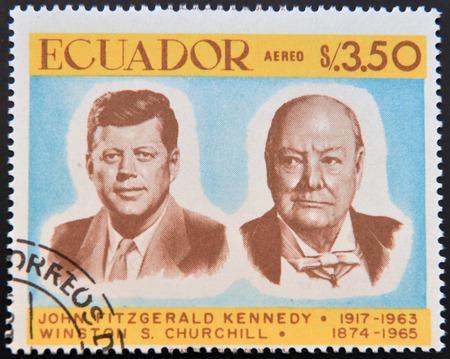 ECUADOR - CIRCA 1967: a stamp printed in Ecuador shows John Fitzgerald Kennedy and Winston Churchill, circa 1967