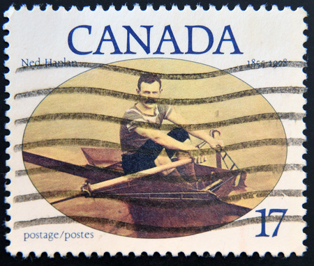 canada stamp: CANADA - CIRCA 1980: A stamp printed in Canada shows Ned Hanlan, circa 1980