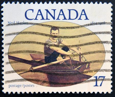 poststempel: KANADA - CIRCA 1980: Ein Stempel in Kanada gedruckt zeigt Ned Hanlan, circa 1980