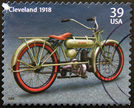 UNITED STATES OF AMERICA - CIRCA 2006: a stamp printed in USA showing an image of motorcycle Harley Davidson Cleveland 1918, circa 2006. Editorial