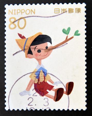 collodi: JAPAN - CIRCA 2000: a  stamp printed in Japan showing an image of  Pinocchio, circa 2000. Editorial