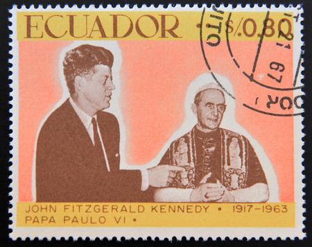 john fitzgerald kennedy: ECUADOR - CIRCA 1967: a stamp printed in Ecuador shows John Fitzgerald Kennedy and Pope Paul VI, circa 1967 Editorial