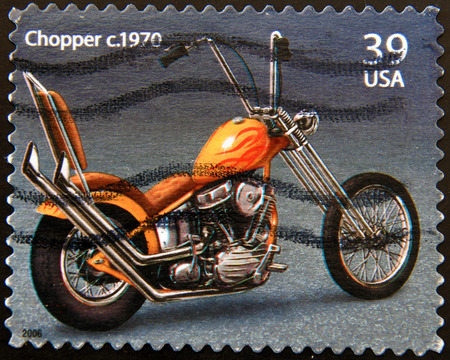 UNITED STATES OF AMERICA - CIRCA 2006: a stamp printed in USA showing an image of motorcycle Harley Davidson Chopper 1970, circa 2006.