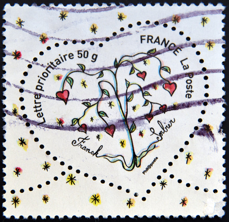 pret a porter: FRANCE - CIRCA 2003: A stamp printed in France shows heart by Franck Sorbier, circa 2003 Editorial