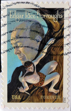 UNITED STATES OF AMERICA - CIRCA 2012: A stamp printed in USA shows Edgar Rice Burroughs, circa 2012 Editorial