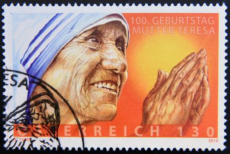 beatification: AUSTRIA - CIRCA 2010: A stamp printed in Austria showing an image of mother Teresa, circa 2010. Editorial