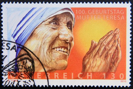 AUSTRIA - CIRCA 2010: A stamp printed in Austria showing an image of mother Teresa, circa 2010. Editorial