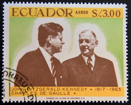 john fitzgerald kennedy: ECUADOR - CIRCA 1967: a stamp printed in Ecuador shows John Fitzgerald Kennedy and Charles de Gaulle, circa 1967