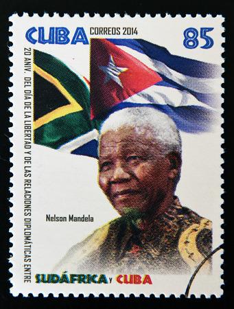 nelson: CUBA - CIRCA 2014: A stamp printed in Cuba shows Nelson Mandela, circa 2014