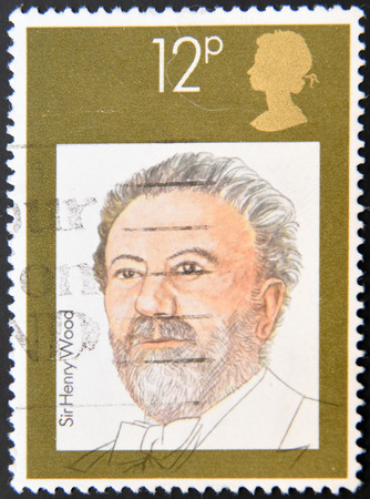 henry: UNITED KINGDOM - CIRCA 1980: A stamp printed in Great Britain shows Sir Henry Joseph Wood, circa 1980