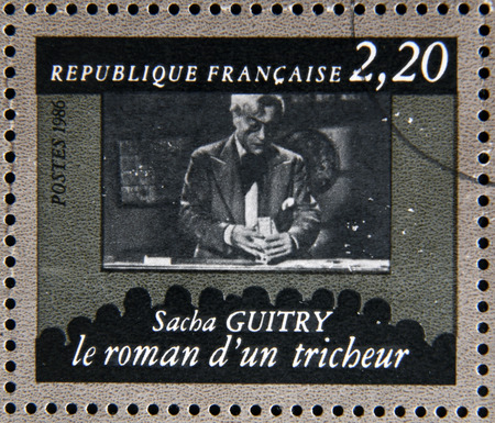 cheater: FRANCE - CIRCA 1986: stamp dedicated to centenary of the French cinema shows Sacha Guitry The romance of a cheater, circa 1986 Editorial