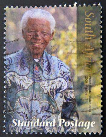 postmarked: REPUBLIC OF SOUTH AFRICA - CIRCA 2008: A stamp printed in RSA shows Nelson Mandela, circa 2008