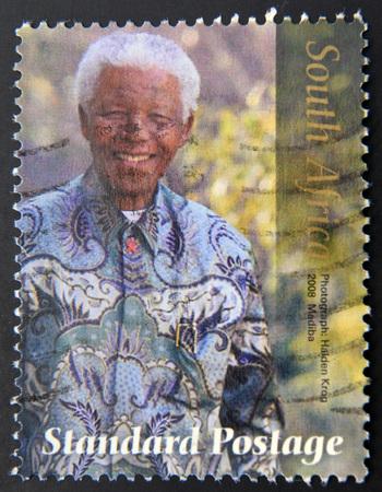 nelson mandela: REPUBLIC OF SOUTH AFRICA - CIRCA 2008: A stamp printed in RSA shows Nelson Mandela, circa 2008