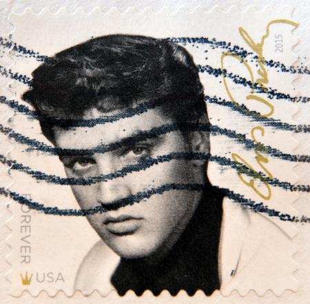 elvis presley: UNITED STATES Of AMERICA - CIRCA 2015: A stamp printed in USA shows Elvis Presley (1935-1977), circa 2015 Editorial