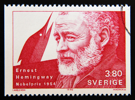 nobel: SWEDEN - CIRCA 1990: A stamp printed in the Sweden shows Ernest Hemingway, Nobel Prize for Literature in 1954, circa 1990 Editorial
