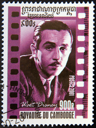 philately: CAMBODIA - CIRCA 2001: A stamp printed in Cambodia shows Walt Disney portrait, circa 2001