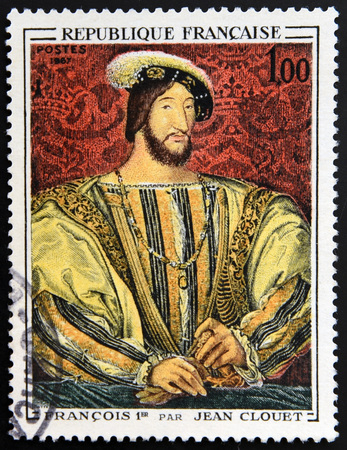 postage stamps: FRANCE - 1967: A stamp printed in France shows image of French Art, Francois I (after Jean Clouet), 1967