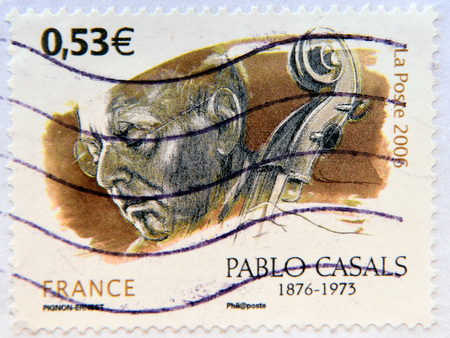pablo: FRANCE - CIRCA 2006: A stamp printed in France shows Pablo Casals, circa 2006