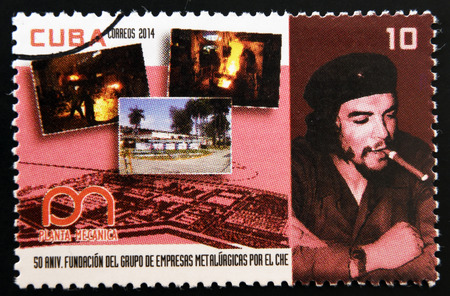 metallurgical: CUBA - CIRCA 2014: A stamp printed in Cuba dedicated to 50th anniversary of the founding of metallurgical enterprises by Che Guevara, circa 2014