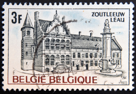 old town guildhall: BELGIUM - CIRCA 1973: A stamp printed in Belgium shows Town Hall, Leau, circa 1973