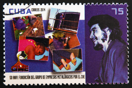 founding: CUBA - CIRCA 2014: A stamp printed in Cuba dedicated to 50th anniversary of the founding of metallurgical enterprises by Che Guevara, circa 2014