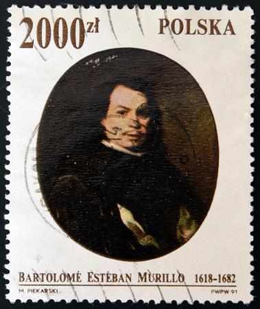 bartolome: POLAND - CIRCA 1991: A stamp printed in Poland shoes self portrait of Bartolome Esteban Murillo, circa 1991 Editorial