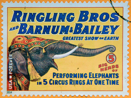 bros: UNITED STATES OF AMERICA - CIRCA 2014: A stamp printed in USA shows big herds of performing elephants at 5 circus rings at one time; circus vintage posters; Ringling Bros, Barnum & Bailey, circa 2014