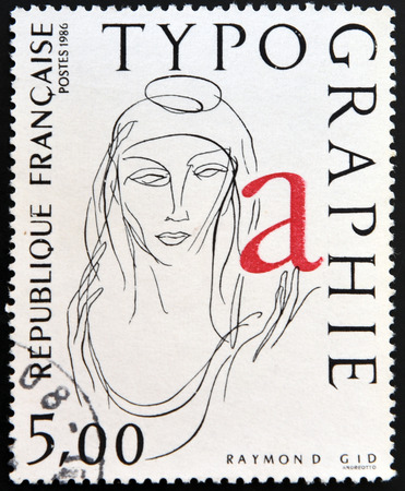 marianne: FRANCE - CIRCA 1986: a stamp printed in France shows La Marianne, Typograph by Raymond Gid, circa 1986