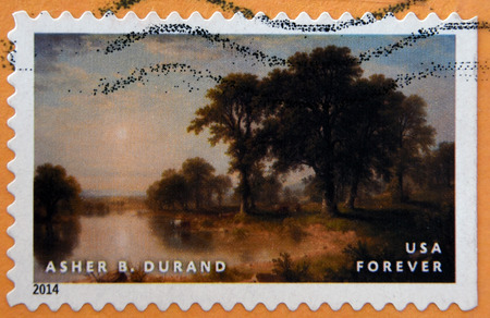 asher: UNITED STATES OF AMERICA - CIRCA 2014:  stamp printed in USA shows summer afternoon by Asher B. Durand; circa 2014 Editorial