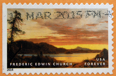 frederic: UNITED STATES OF AMERICA - CIRCA 2014: stamp printed in USA shows Sunset by Frederic Edwin Church; circa 2014