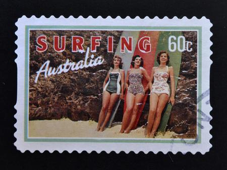 beauties: AUSTRALIA - CIRCA 2013: A stamp printed in Australia dedicated to Surfing, shows Beach Beauties, circa 2013 Editorial