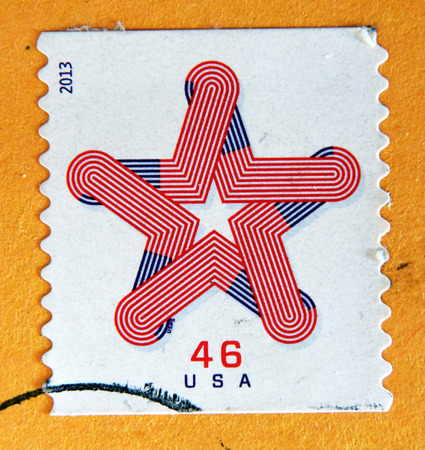 philatelist: UNITED STATES OF AMERICA - CIRCA 2013: A stamp printed in USA shows Patriotic Star coil, circa 2013