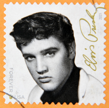 elvis: UNITED STATES Of AMERICA - CIRCA 2015: A stamp printed in USA shows Elvis Presley, circa 2015
