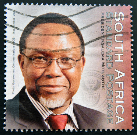 rsa: SOUTH AFRICA - CIRCA 2009: A stamp printed in RSA shows President Kgalema Motlanthe, circa 2009